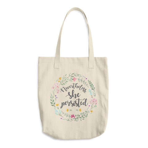 Nevertheless She Persisted Cotton Tote Bag - pipercleo.com