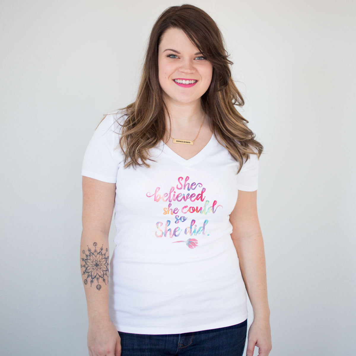 She Believed She Could So She Did Women's V-Neck T-Shirt - pipercleo.com