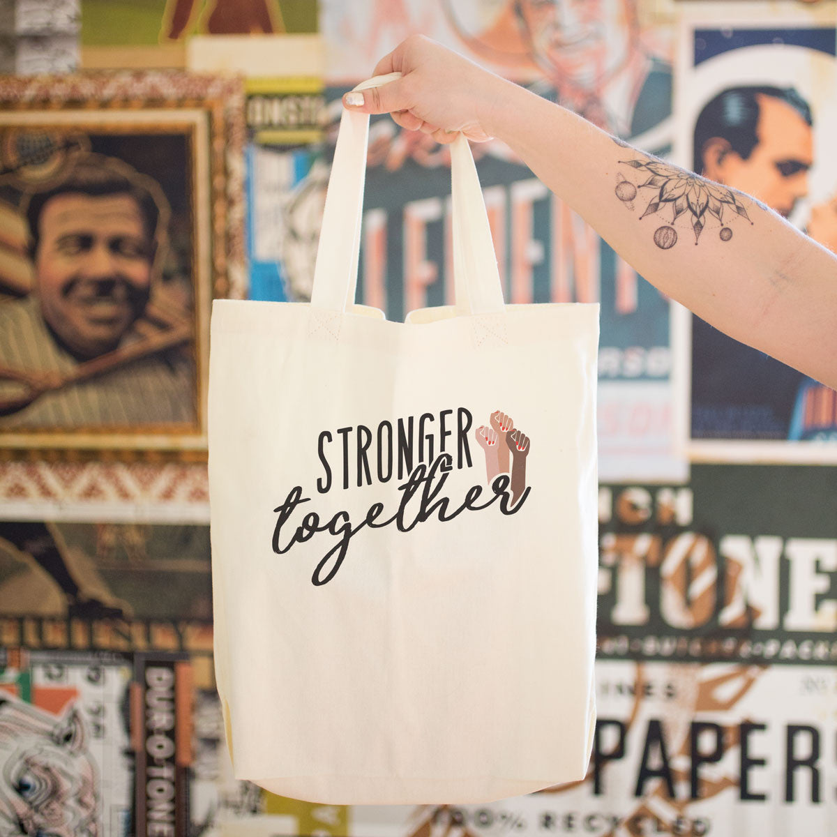 Stronger Together Cotton Tote Bag - pipercleo.com