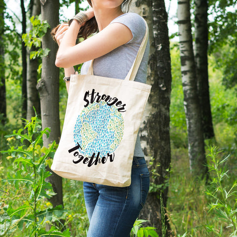 Stronger Together - Support Earth Cotton Tote Bag - pipercleo.com