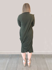 New Arrival - Peserico Dress - Olive Green - Back View