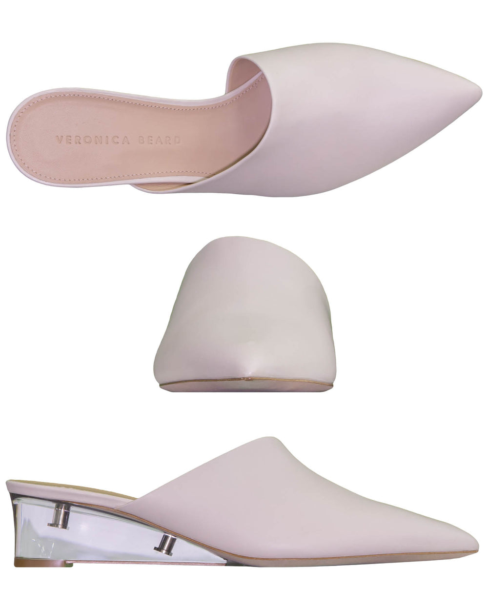 Almond Toed Mule Lucite Wedges