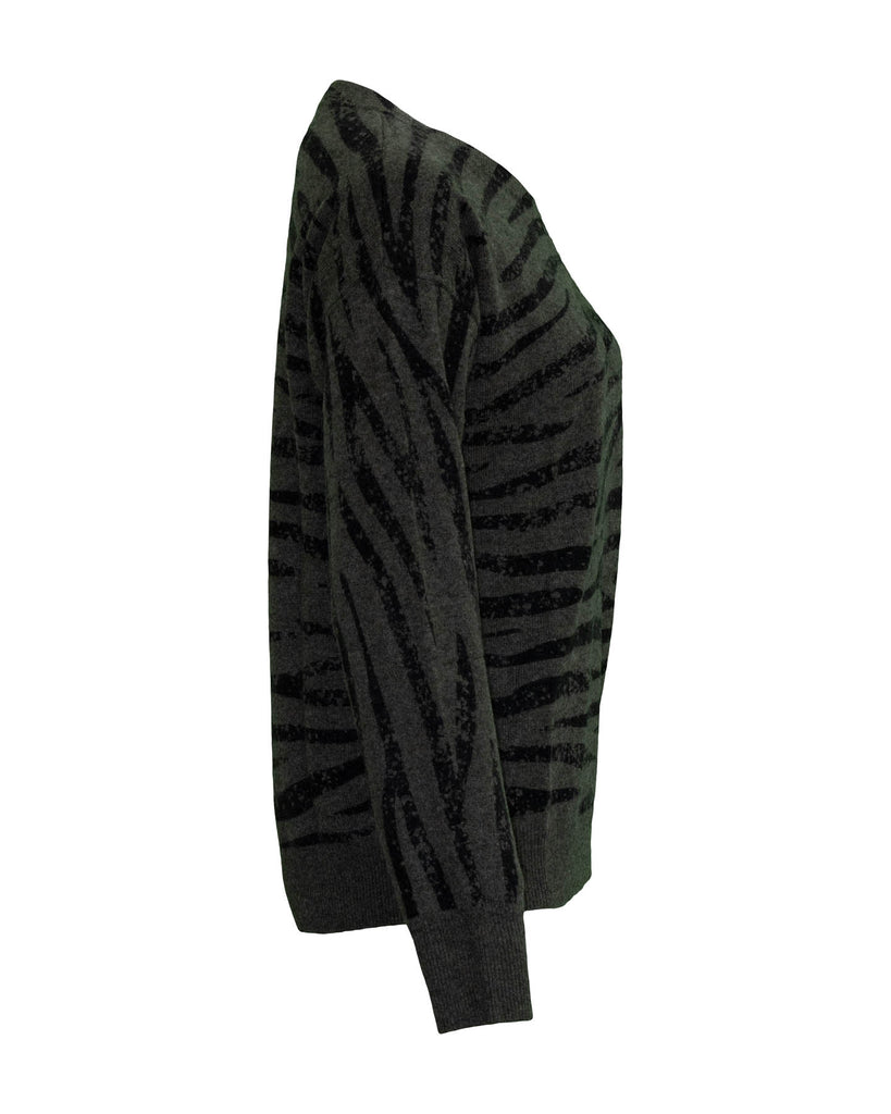 Cashmere Tiger Print Crew Neck Sweater Khaki
