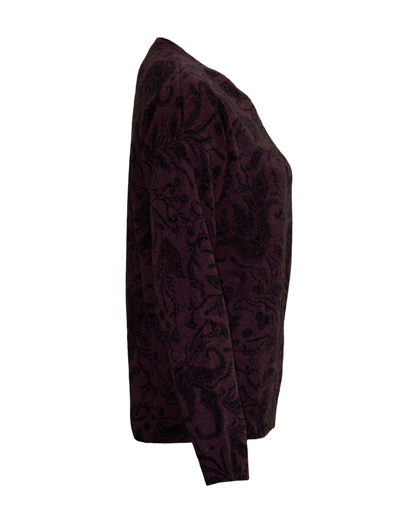 Cashmere Floral Design Crew Neck Sweater Burgundy