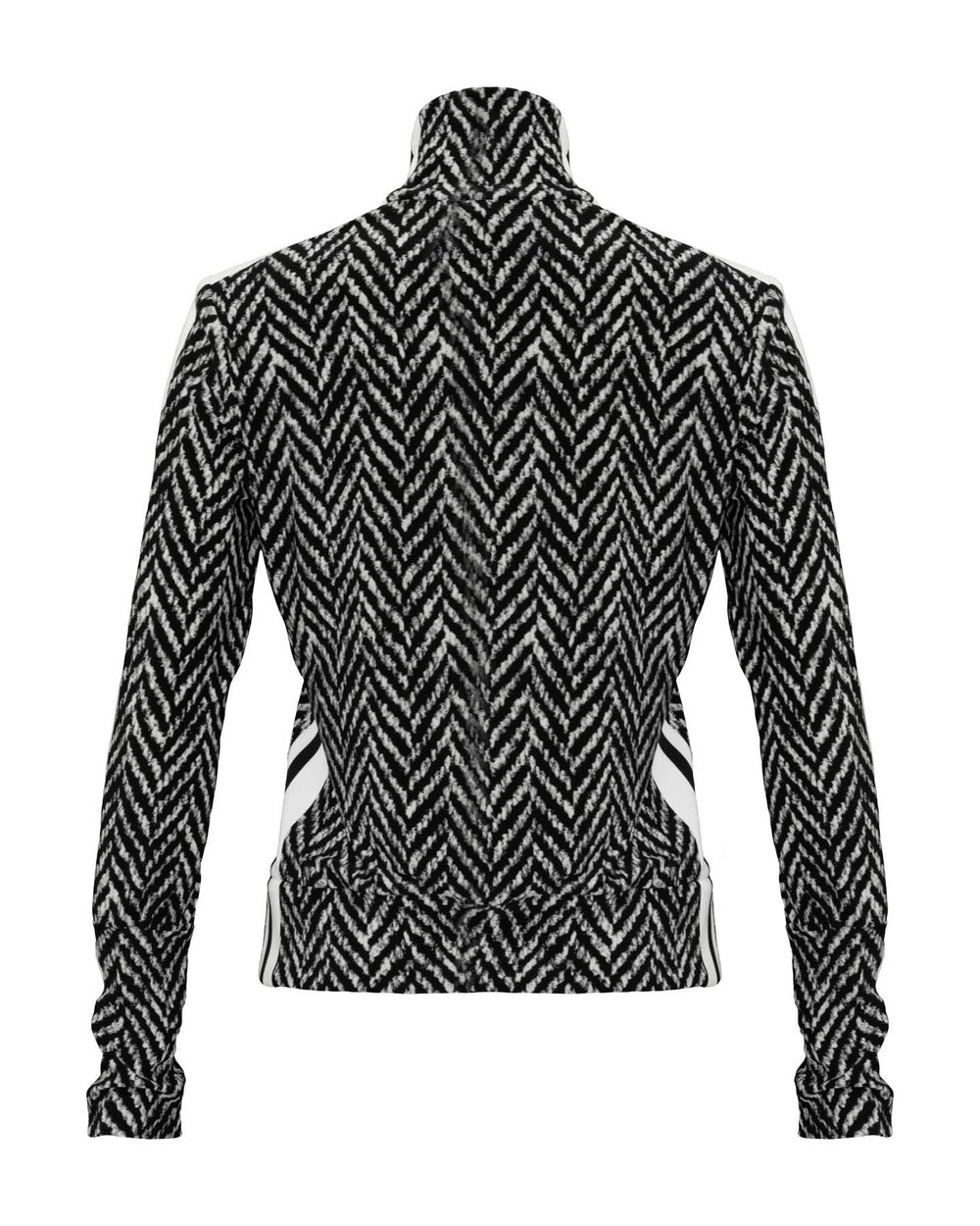 Side Stripe Zip Up Jacket Herringbone