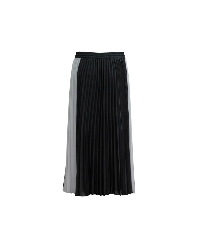 Black and White Colorblock Pleated Skirt