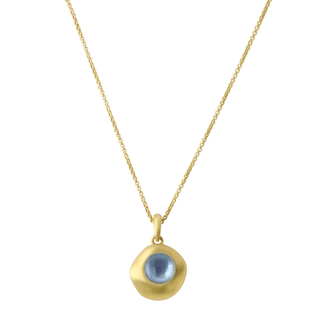 Mar Gemstone Mini Drop Pendant Necklace Blue Topaz