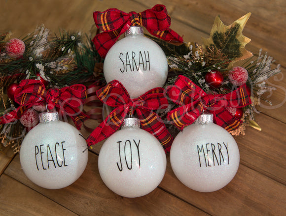 Rae Dunn Inspired Christmas ornaments - EMP VINYL DESIGNS