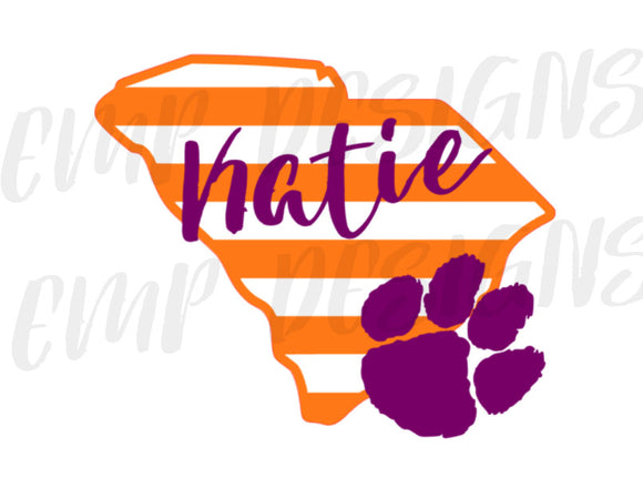 Orange & Purple Striped Monogram Decal