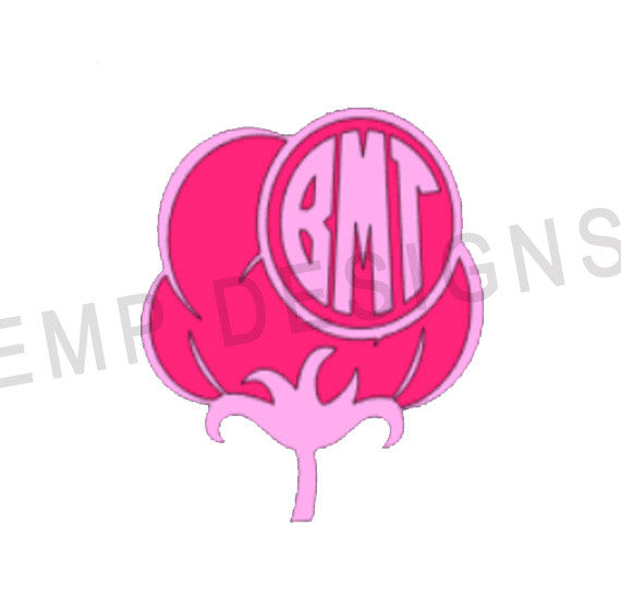 Cotton monogram decal - EMP VINYL DESIGNS