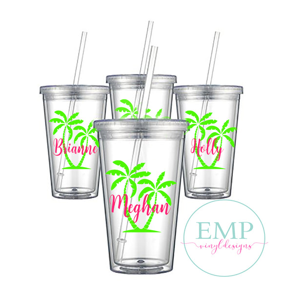 Palm Tree Bachelorette Party Tumblers