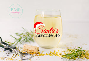 Santa's Favorite Ho Wine Glass