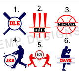 Baseball Monogram Decal-Softball Monogram Decal