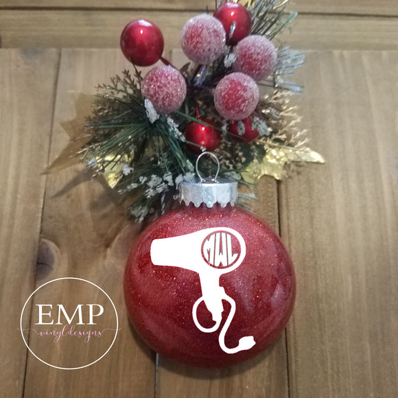 Blow Dryer Monogram Ornament