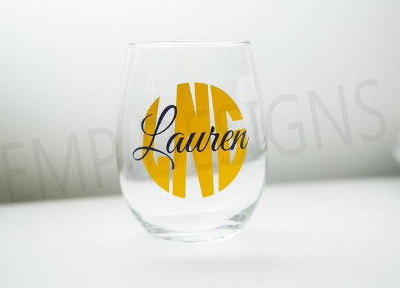 Personalized Wine Glass - EMP VINYL DESIGNS