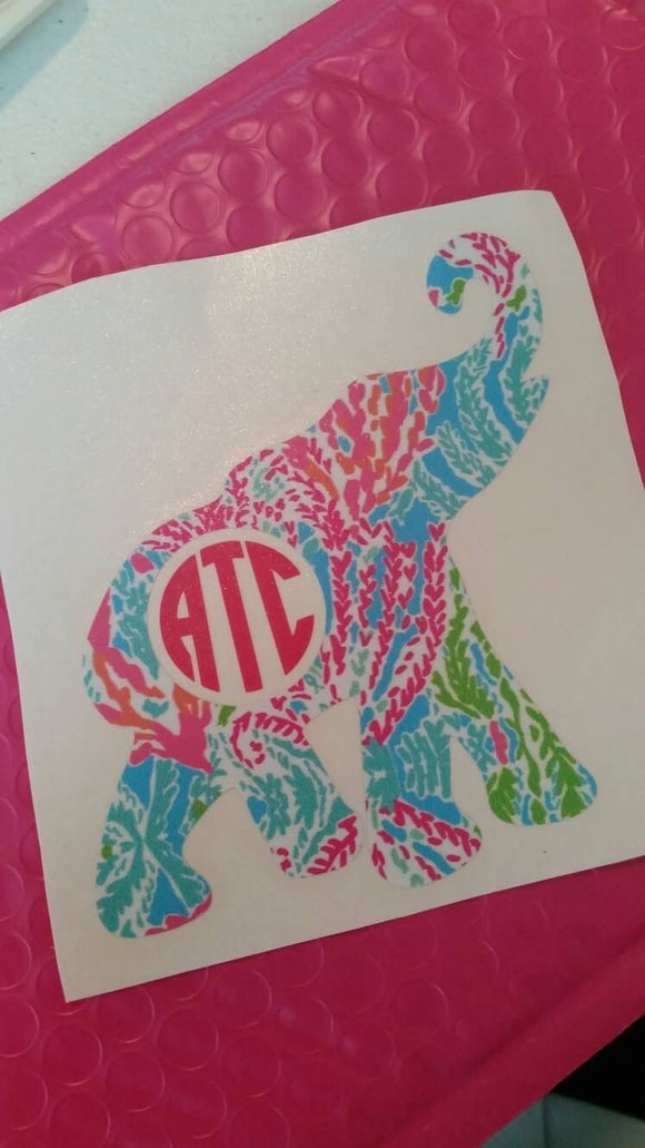 Elephant Monogram Decal - EMP VINYL DESIGNS