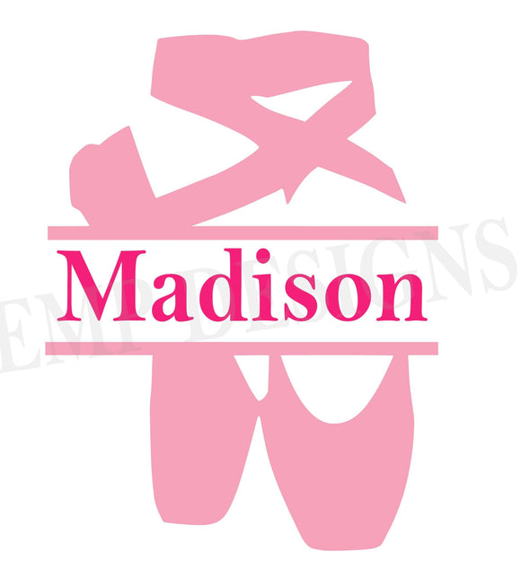 Ballet Shoes Monogram Decal - EMP VINYL DESIGNS