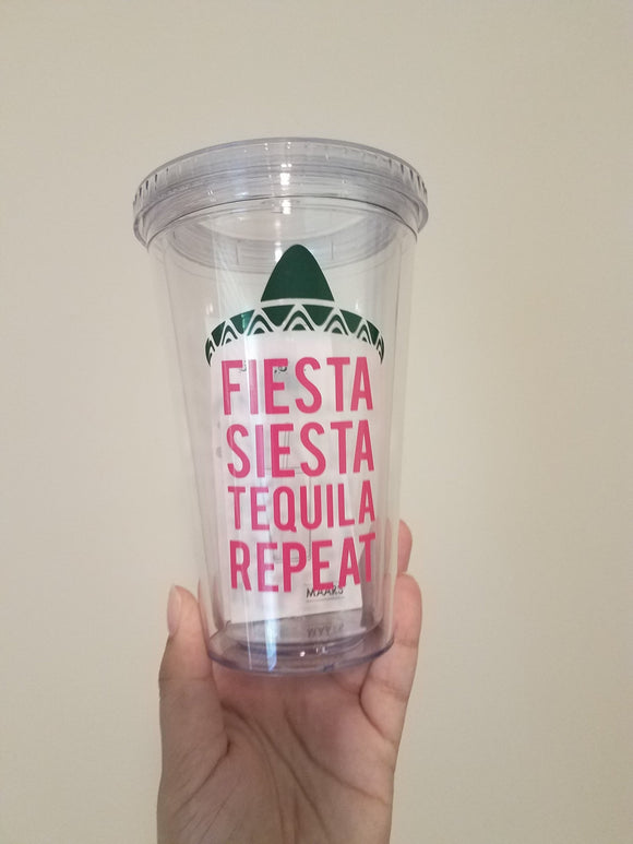 Fiesta, Siesta, Tequila Repeat Bachelorette Party Tumblers - EMP VINYL DESIGNS