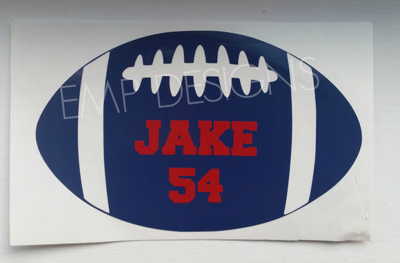 Personalized Football Decal - EMP VINYL DESIGNS