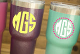Glitter Stainless Steel Tumblers with custom monogram - EMP VINYL DESIGNS