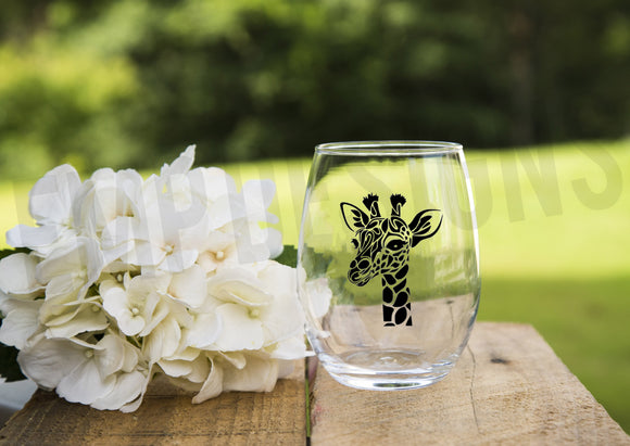 Giraffe Wine Glass - EMP VINYL DESIGNS