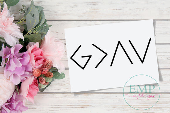 God is Greater than the Highs and Lows laptop Decal
