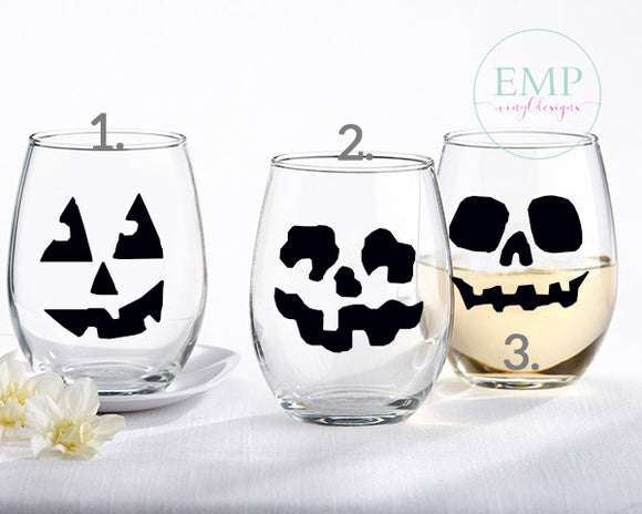 Jack-o-lantern Face Wine Glass - EMP VINYL DESIGNS