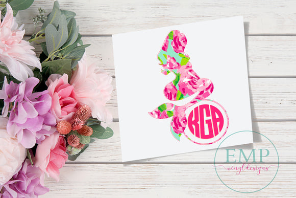 Mermaid Monogram Decal - EMP VINYL DESIGNS