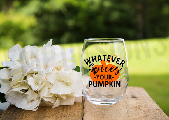 Pumpkin Spice Wine Glass
