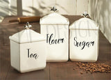 DIY Set of 4 kitchen canister labels vinyl decals