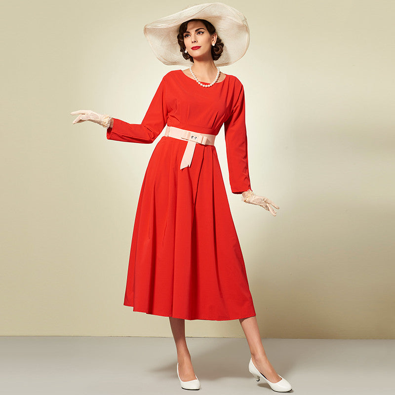 [2017 special] Vintage women collection | Maxi dress with Belt | Red | Party women | 1950 style | Long sleeve | Prince dress