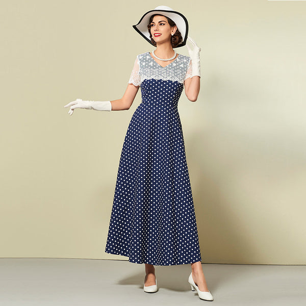Vintage Blue Polka Dots Women Party dress | Evening special | Party goer favorite | Luxury brand inspired | 2017 Must have | Women special | Uniqueism