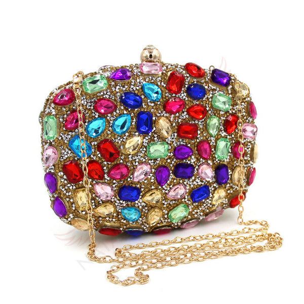 Fascinating Multicolored Crystal Clutch Purse | Evening special | Party goer favorite | Luxury brand inspired | 2017 New Arrival | Women special | Uniqueism
