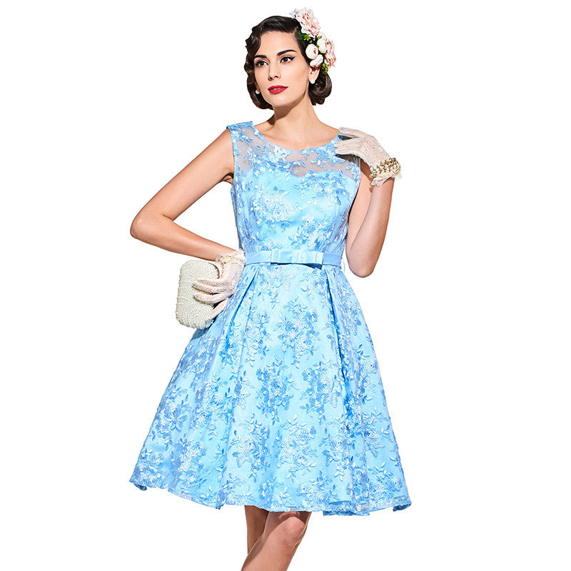 [2017 special] Vintage women collection | Blue Solid | Party women | Bow-O-Neck | 1950 style | Sleveless dress