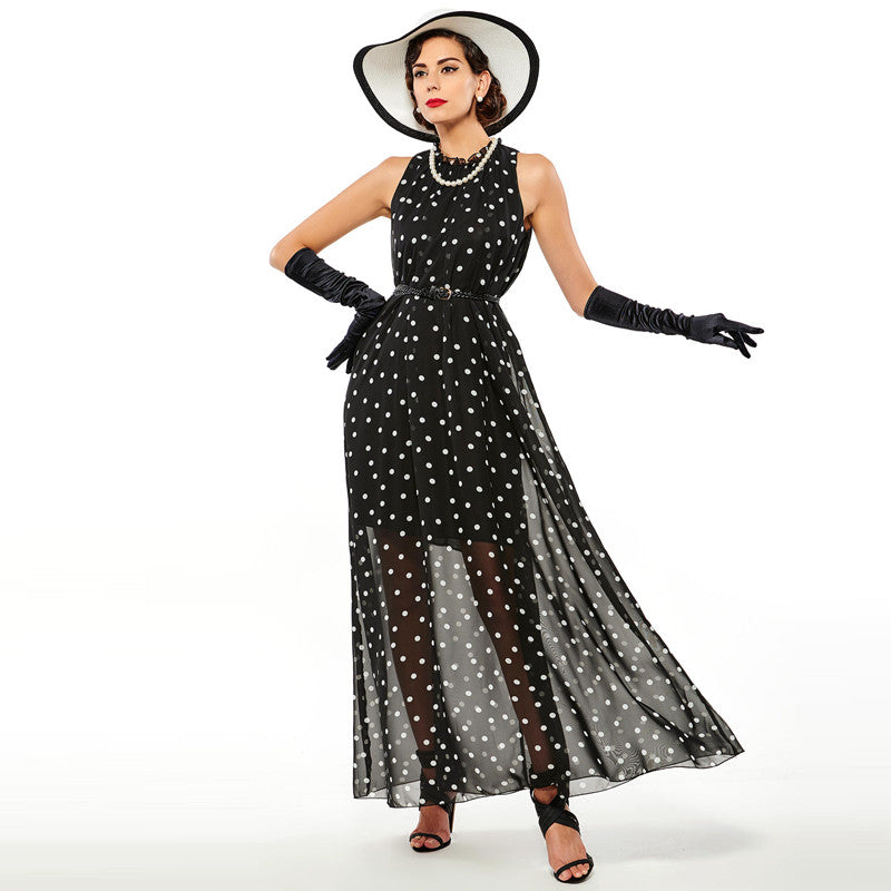 Black Women Maxi Dress with Polka Dots | Evening special | Party goer favorite | Luxury brand inspired | 2017 Must have | Women special | Uniqueism