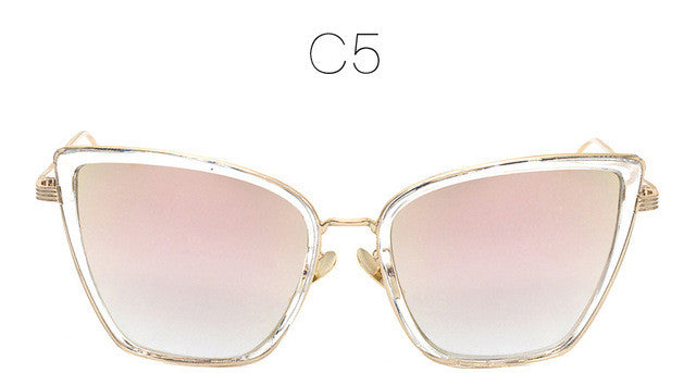 New Fashion Women Sunglasses | Cat Mirror Glasses | Metal Cat Eye | Luxury women brand | Big Square Style | 2017 Bestseller | Uniqueism