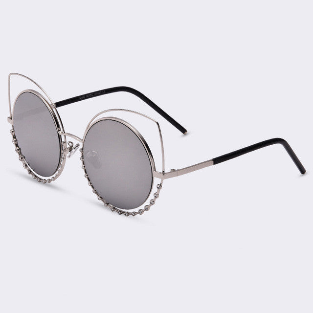 Sexy Cat Eyed Sunglasses | Women Coating Reflective Mirror | Diamond Decoration Glasses | Women special | UV400 protection | 2017 Bestseller
