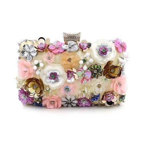 Embroidery Floral Multicolored Crystal Clutch Purse | Evening special | Party goer favorite | Luxury brand inspired | 2017 Must have | Women special | Uniqueism