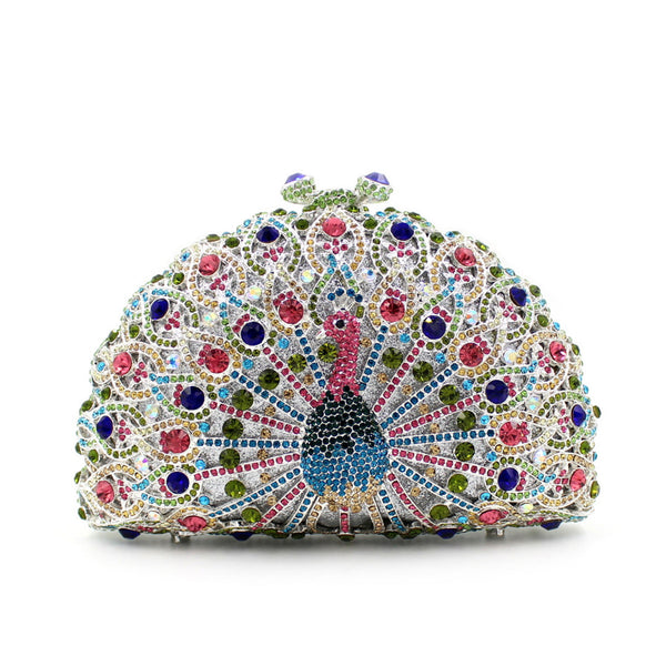 Peacock Shape Multicolored Crystal Clutch Purse | Evening special | Party goer favorite | Luxury brand inspired | 2017 Must have | Women special | Unique