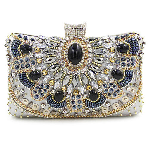 Exquisite Multicolored beaded Crystal Clutch Purse | Wedding special | Party goer favorite | Luxury brand inspired | 2017 Must have | Women special | Uniqueism