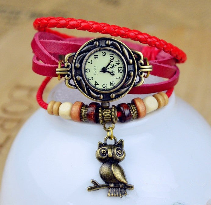 Red Hot! 2016 Unique Handmade Owl type watch, weaved Rope Band / Bracelet, Quartz type