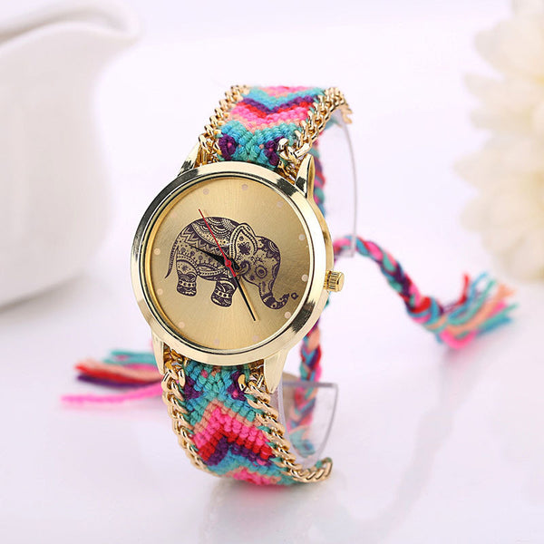 Red Hot! 2016 Unique Handmade Elephant type watch, weaved Rope Band / Bracelet, Quartz type