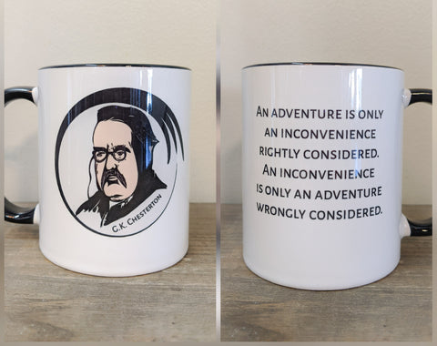The G.K. Chesterton Mug - An Inconvenience is Only an Adventure - Drinklings