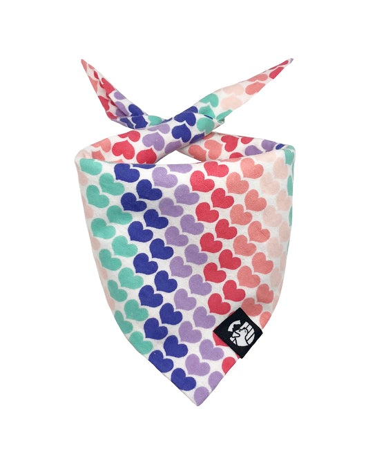 Rainbow Hearts Bandana (Snuggle Fabric)