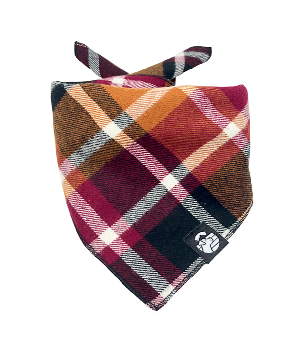 Burnt Orange & Magenta Plaid Bandana