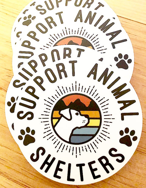 "4"" Support Animal Shelters Sticker"