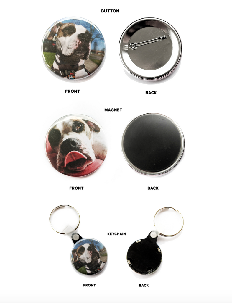 Personalized Pet Button, Magnet & Keychain