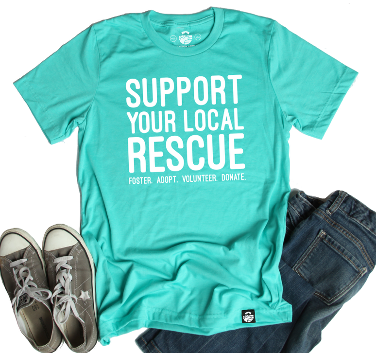 Support Your Local Rescue Tee (Heather Sea Green)