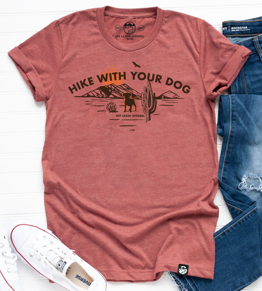 Hike With Your Dog Tee (Heather Clay)