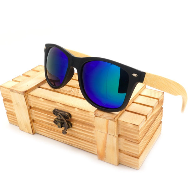 High Quality Vintage Black Square Sunglasses With Bamboo Legs Mirrored Polarized in Wood Box